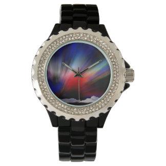 Hand drawn artic aurora borealis wristwatch