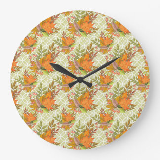 Hand Drawn Autumn Leaves Large Clock