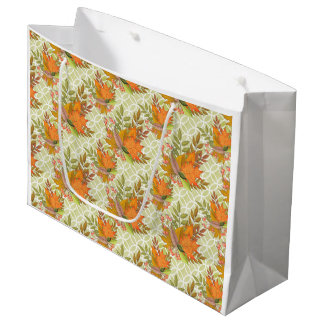 Hand Drawn Autumn Leaves Large Gift Bag