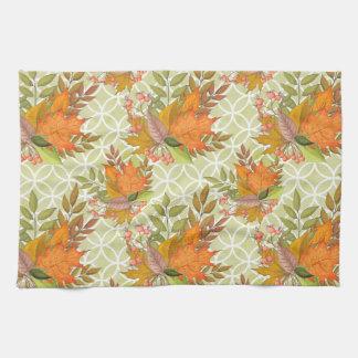 Hand Drawn Autumn Leaves Tea Towel