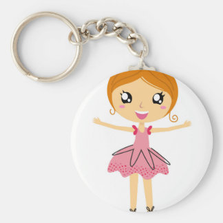 Hand drawn beautiful Ballerina pink Edition Basic Round Button Key Ring