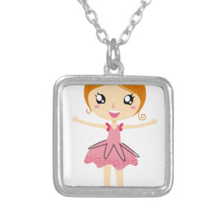 Hand drawn beautiful Ballerina pink Edition Silver Plated Necklace