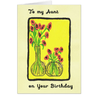Hand Drawn Birthday Card for Aunt
