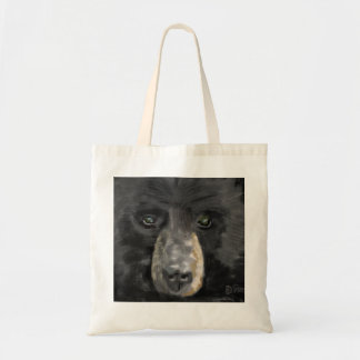 Hand drawn black bear face close up tote bag