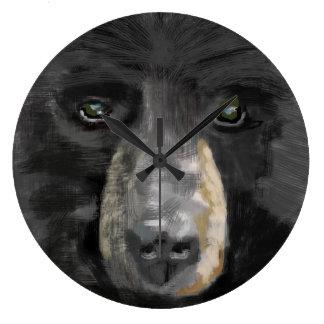 Hand drawn black bear image. clocks