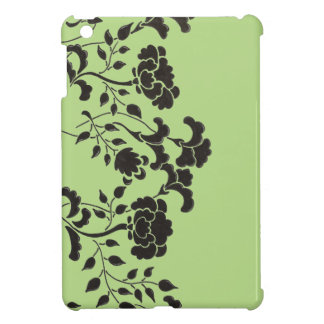 Hand drawn black flower garden on green iPad mini covers
