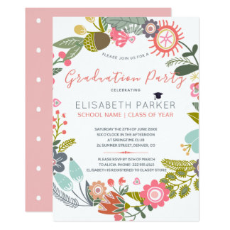 Hand drawn blooms meadow wreath graduation party card