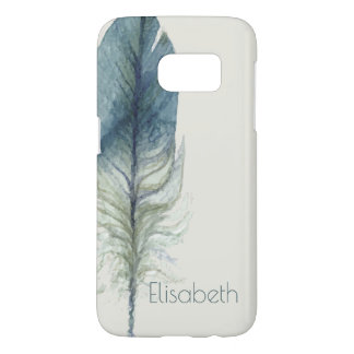 Hand drawn blue gray watercolor feather