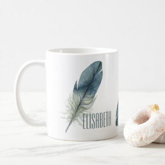 Hand drawn blue gray watercolor feather coffee mug