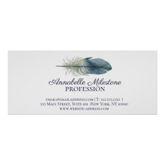 Hand drawn blue gray watercolor feather custom 2 poster