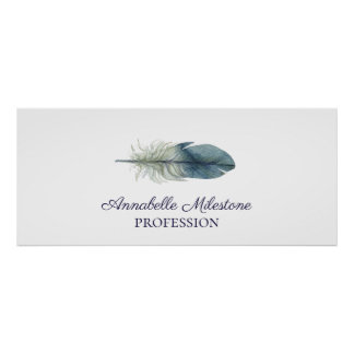 Hand drawn blue gray watercolor feather custom poster