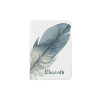 Hand drawn blue gray watercolor feather passport holder