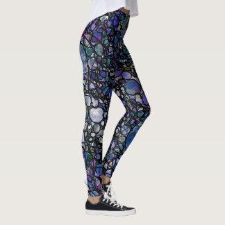 Hand-Drawn Blue, Purple & Black Circles, Crazy Leggings