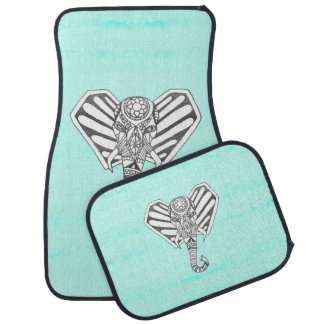 Hand Drawn Bohemian Tangle Elephant Aqua Tie Dye Car Mat