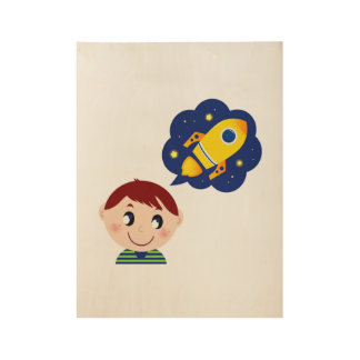 Hand drawn Boy dreaming about Rocket Wood Poster