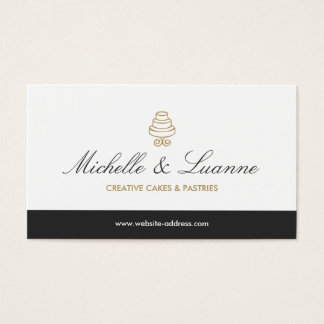 HAND-DRAWN CAKE LOGO IN GOLD FOR BAKERY or CHEF