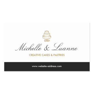 HAND-DRAWN CAKE LOGO IN GOLD FOR BAKERY or CHEF Business Card Templates