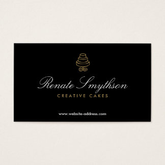 HAND-DRAWN CAKE LOGO IN GOLD II FOR BAKERY or CHEF