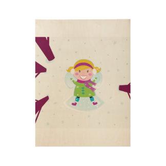 Hand drawn cartoon Girl on wood Wood Poster