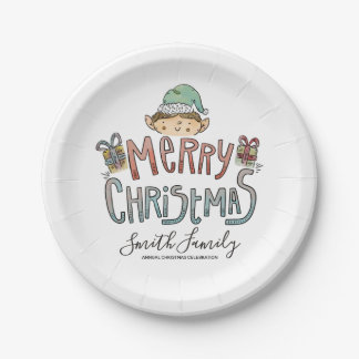 Hand Drawn Christmas Elf Paper Plate