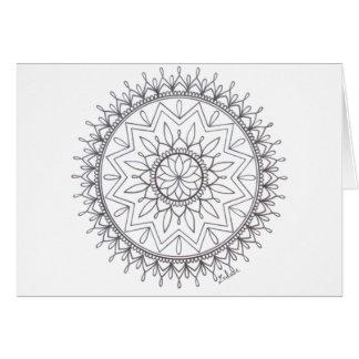 Hand Drawn Colour In Mandala Design Card