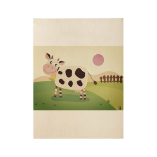Hand drawn COW on Wood Wood Poster