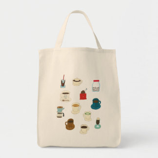 Hand-drawn Cups of Coffee, Beans, & Grinders Tote Bag
