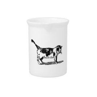 Hand Drawn Cute Cat Kitten Drawing Pitcher