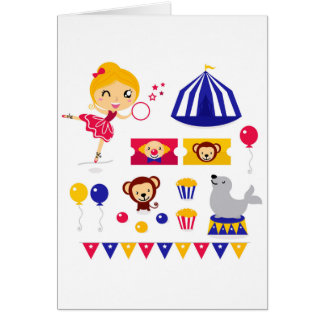 Hand drawn cute Circus edition : Ballerina stuff Card