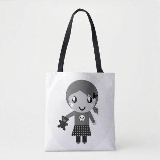 Hand drawn cute Girl on bag