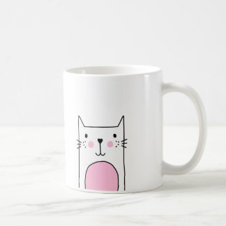 Hand Drawn Cute Pink Cat Coffee Mug