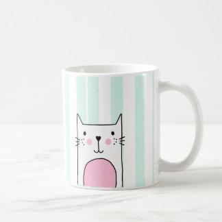 Hand Drawn Cute Pink Cat Coffee Mug - Blue Stripe