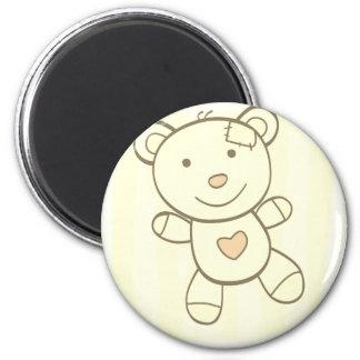 Hand-drawn cute Teddy / plastic button 6 Cm Round Magnet