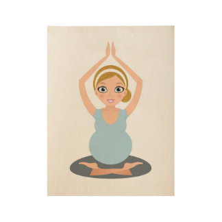 Hand drawn cute Yoga girl on wood Wood Poster
