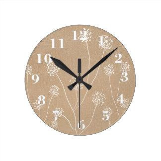 Hand drawn Dandelions flowers beige kraft Round Clock