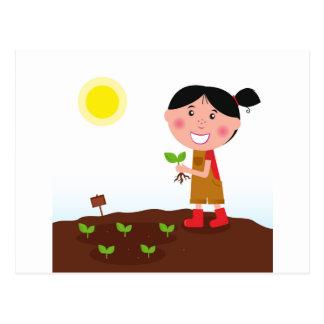 Hand-drawn design : Garden girl Postcard
