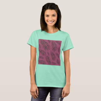 Hand drawn Designers Tshirt Cyan with Palm Leaves