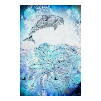 Hand drawn dolphin poster