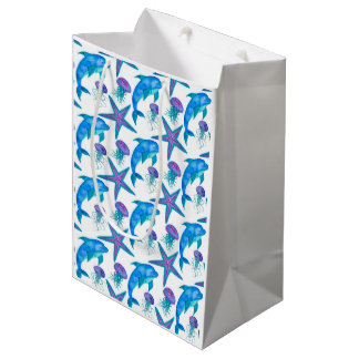 Hand Drawn Dolphins Pattern Medium Gift Bag