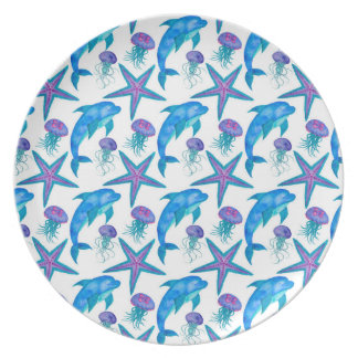 Hand Drawn Dolphins Pattern Plate