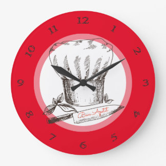 Hand drawn doodle chef hat knife kitchen clock