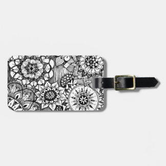 hand drawn doodle flowers bag tag