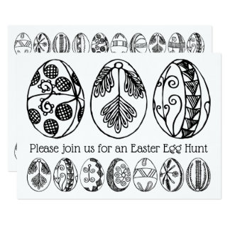 Hand Drawn Easter Egg Hunt Colouring Invitation