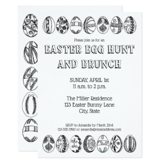 Hand Drawn Easter Eggs Colouring Easter Invitation