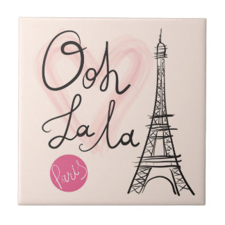 Hand Drawn Eiffel Tower Small Square Tile