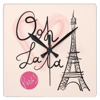 Hand Drawn Eiffel Tower Square Wall Clock