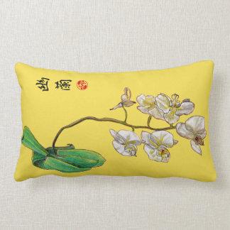 Hand Drawn Elegant Orchid Print Lumbar Cushion