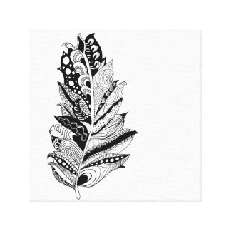 Hand Drawn Feather Canvas Canvas Prints