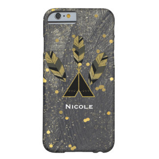 Hand Drawn Feather & Tepee Gold Black Boho Glam Barely There iPhone 6 Case