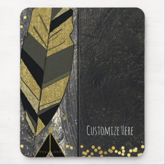 Hand Drawn Feather & Tepee Gold Black Boho Glam Mouse Pad